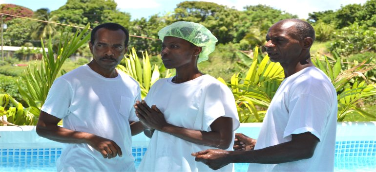 Baptism at Mount Zion's Missions Inc Barbados Foursquare Church