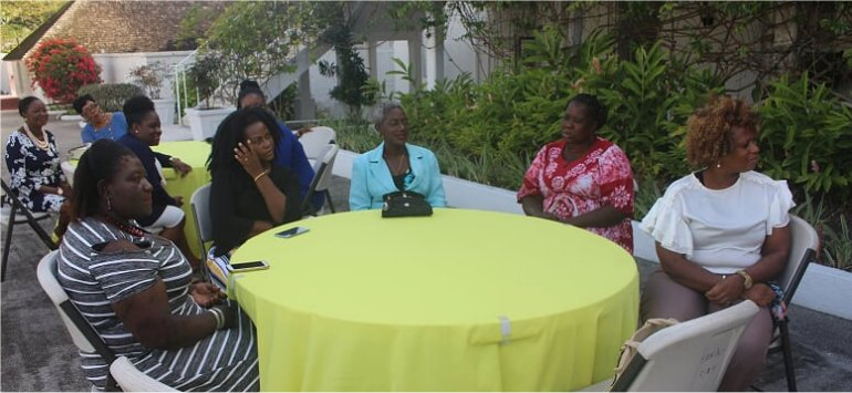 Ruth and Esther have tea with Madame Justice Dame Sandra Prunella Mason QC new Governor General of Barbados