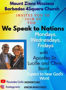 Mount Zion's Missions Inc Barbados Foursquare Church Speak to the Nations 2020